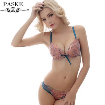 b8fc4293b0f New 2018 underwear women bra panties deep-V lace bra brief set Sexy lace  Satin