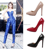 Rivet Studded Pointed Toe Stiletto Heel Ladies High Heel Shoes