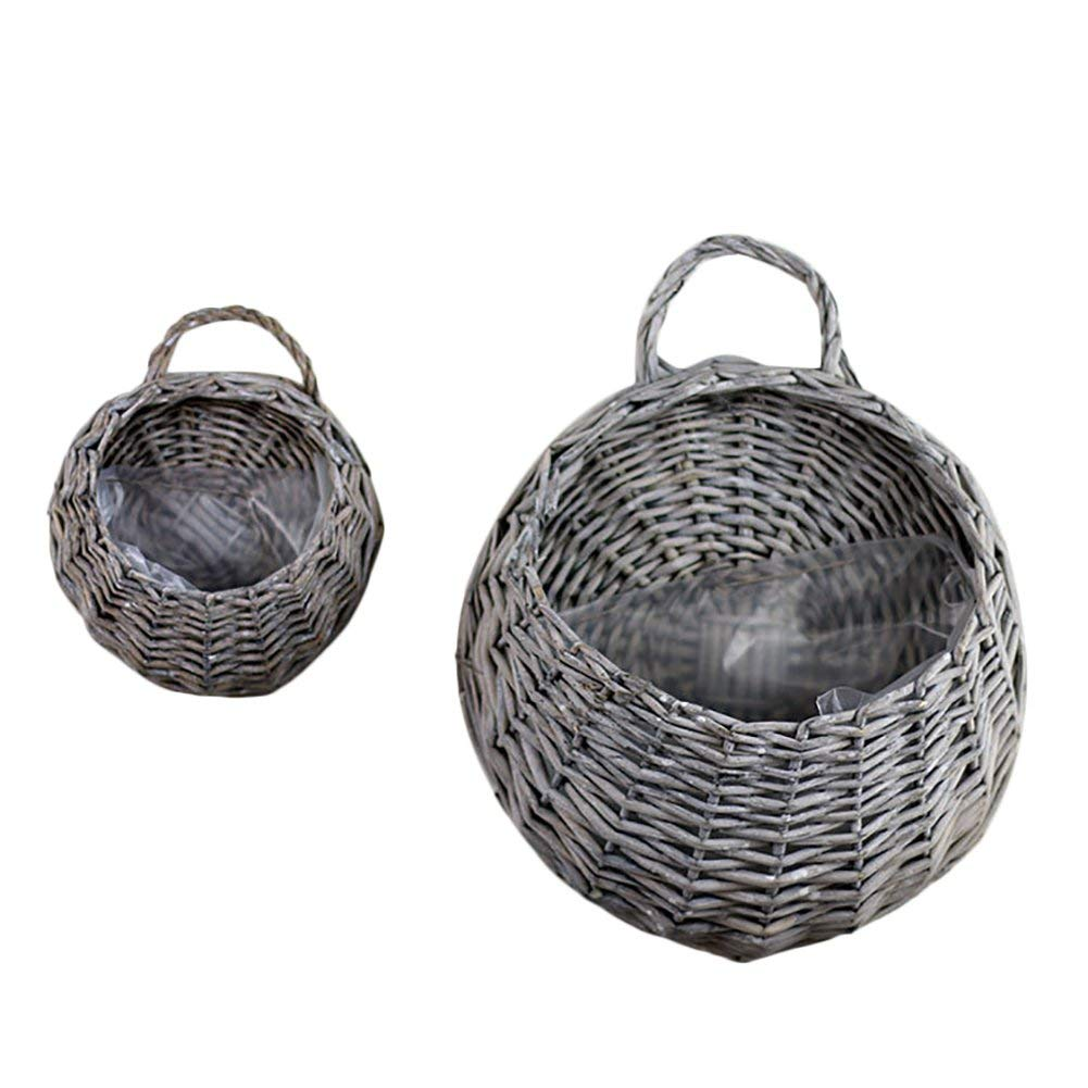 Handmade Woven Hanging Basket Natural Wicker Storage Basket, Straw and Willow Basket Flower Pot Rustic Rattan Hanging Wall Basket Vase Container for Home Garden Wedding Wall Decoration(C)