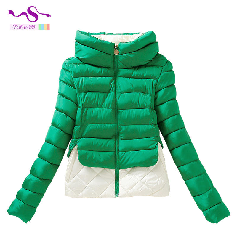 Fall Winter women Cotton Jacket 2015 new fashion mixed colors Slim short paragraph Hooded Cotton Jacket YT48