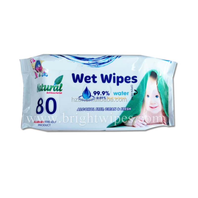 99.9% Pure water and 0.01% furit extract Baby Wet Wipes