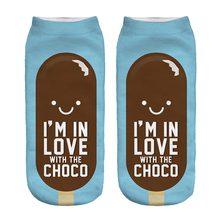 Free Shipping Hot Sale 3D Socks Chocolate Ice Cream Blue Color Cozy Socks Thin Comfortable Socks