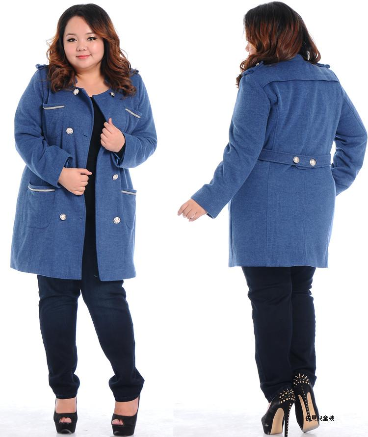 New winter woolen coat Plus Size fat women coats big size clothing/Female trench coats winter 2014 fashion high quality