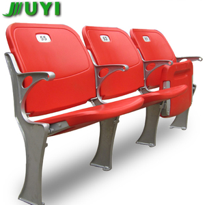BLM-4671 Fixed on Floor Folding Stadium Seats with Cushion Soccer Field Sport Gym Stadium Plastic Chairs Factories