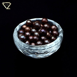 Hot sale 8-9mm Satin Luster Shell Pearl Beads, Brown Pearl Beads, Loose Round Pearls for Jewelry Making