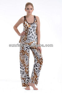 leopard printed satin women's pajamas