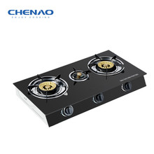 tempered glass table stainless steel 3 burner gas stove /brass cap gas rangs