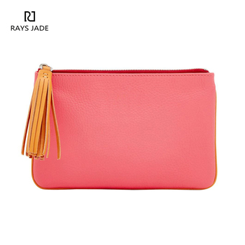 Ladies tassel purse pebble leather pink clutch bag