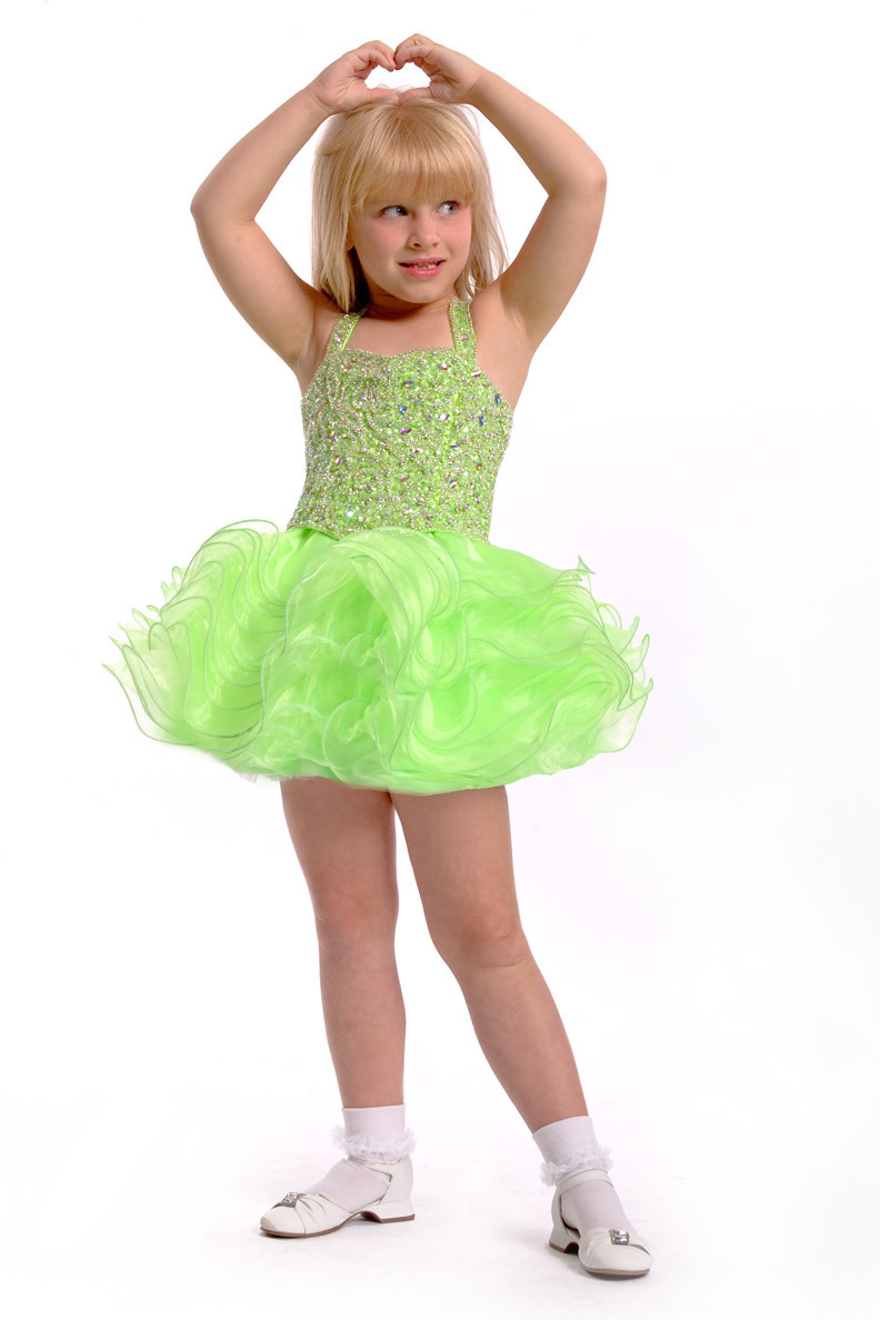 830683b17b70 Get Quotations · Green Color Spaghetti Strap Beadings Ruffle Organza Flower  Girl Dress Little Girl Pageant Dress