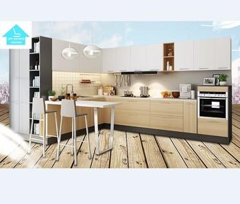 White Maple Walnut Cyan Modern Kitchen