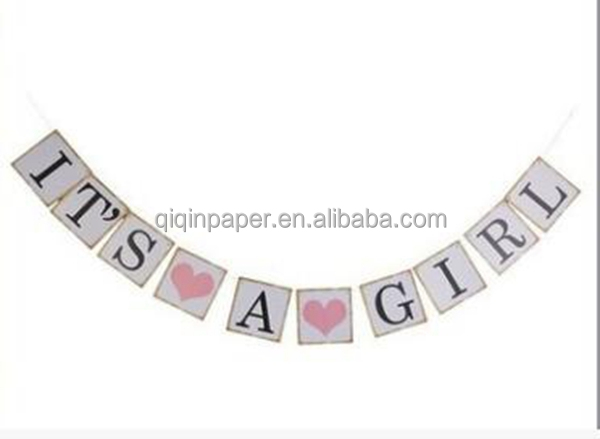 IT IS A GIRL Paper Garland Bunting Banner Christening Baby Shower Garland Decoration Birthday Party Favors