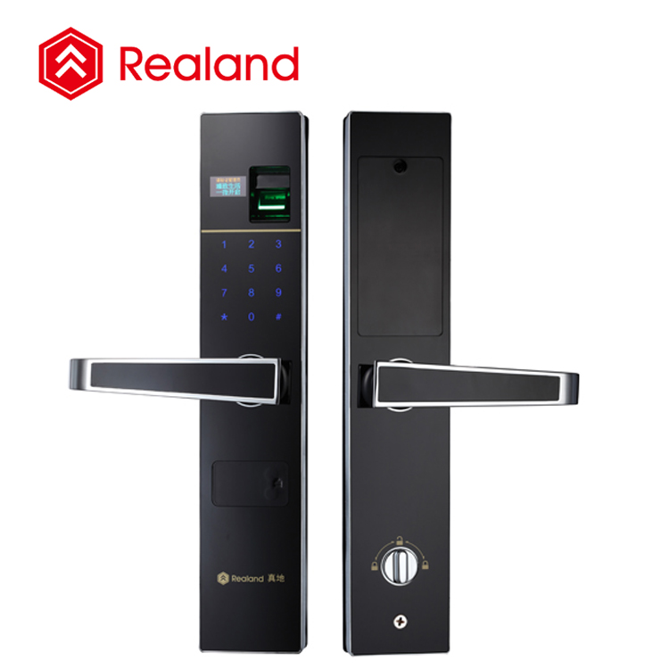 OLED touch screen keypad Zinc Alloy material smart finger print password door lock (Realand F2)