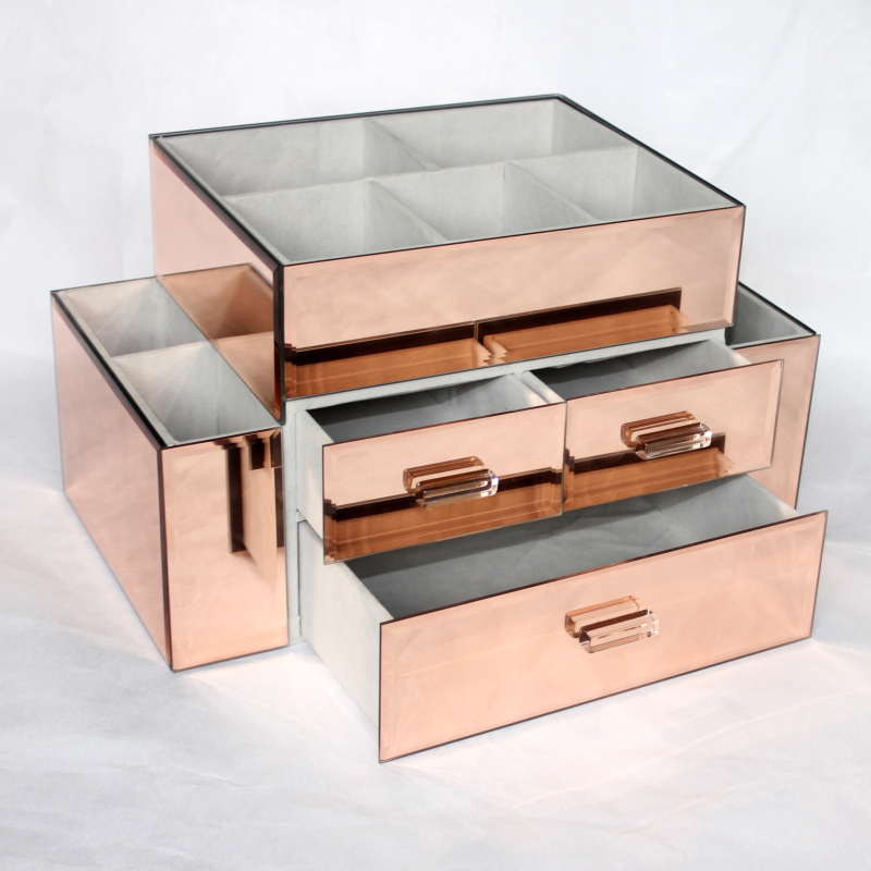 New Wholesale Custom Beauty Glass Large Mirrored Makeup Organizer
