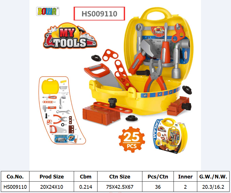 HS009110, Huwsin Toys, Tools Suitcase, Kids play set, Educational toy