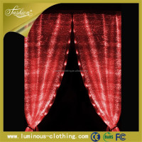 Fashion LED glow fabric christmas shower star sheer curtain turkey