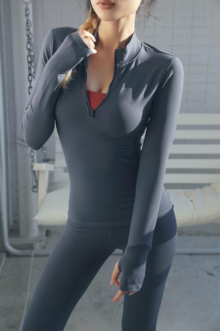 En gros fitness active wear top de gymnastique respirant à manches longues demi zip zip fit fit yoga t-shirt pour les femmes