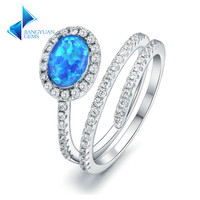 925 Sterling Silver Blue Opal Stone Open Rings Wedding Jewelry