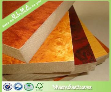 All kinds of standard size melanine mdf board or particle board price from Shandong