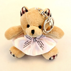 factory 10cm 12cm plush stuffed teddy bear doll pendant key-chain with skirt cloth
