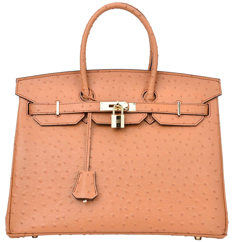17431cca830c9 Get Quotations · Cherish Kiss Luxury Women's Genuine Leather Embossed  Ostrich Top Handle Padlock Handbags