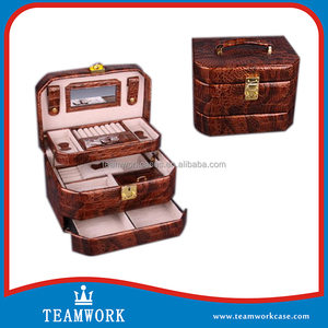 Multilayers luxury Faux Leather Jewelry Storage Box with Drawers & Mirror