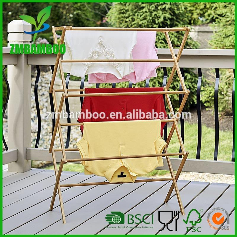 Folding Bamboo Clothes Drying Rack ,Dry Laundry and Hang Clothes Rack