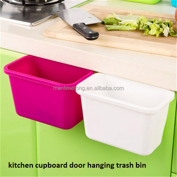plastic kitchen garbage trash bin hanging cupboard drawer door trash can