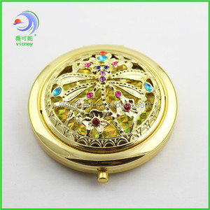round custom gifts good quality gold pocket mirror