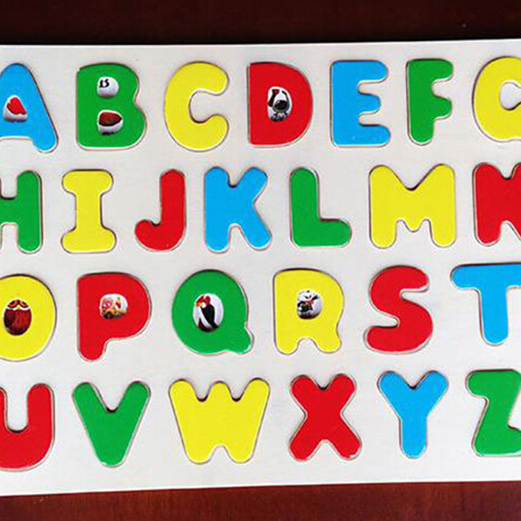 Wooden educational kids toy arabic letter puzzle