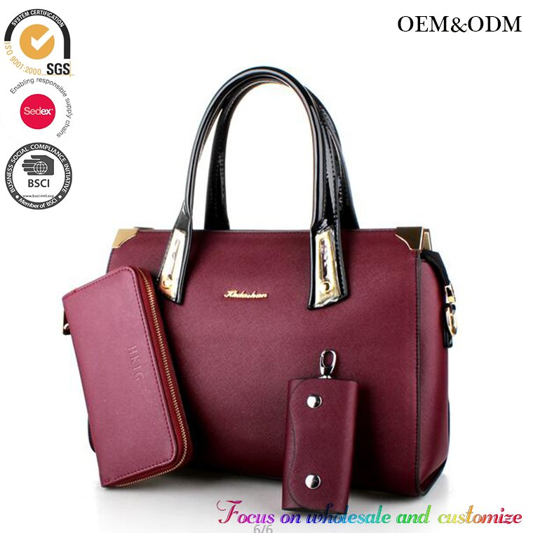 Western style popular 2016 hand bag classical lady hand bag 3pcs in 1 online shopping china supplier