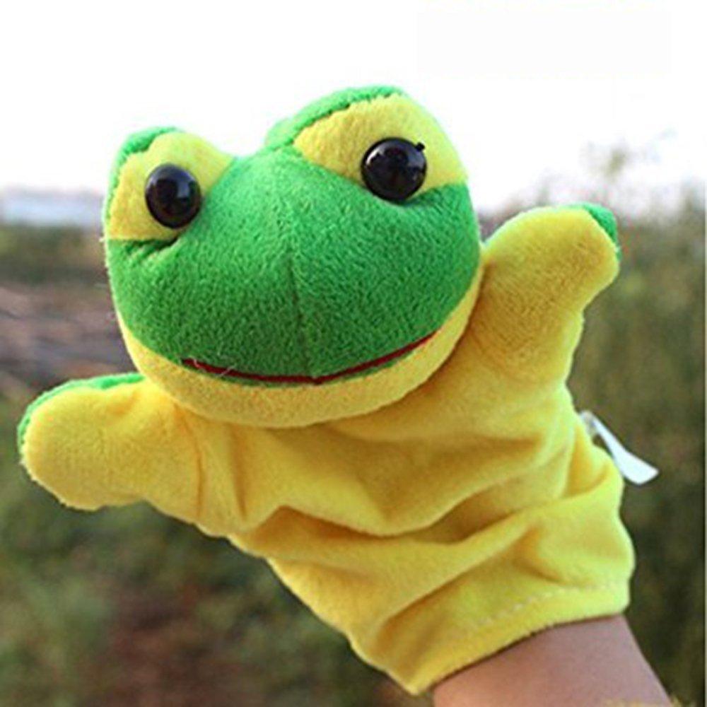 LUCKSTAR(TM) 1PC Cute Velvet Animal Style Hand & Finger Puppet Toy Plush Toy For Kids Preschool Kindergarten (Frog)