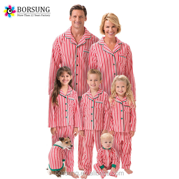 a52407faa621 2017 New Wholesale Family Christmas Pajamas Sets Cotton Strips Pjs Adults  and Child Clothing Sets