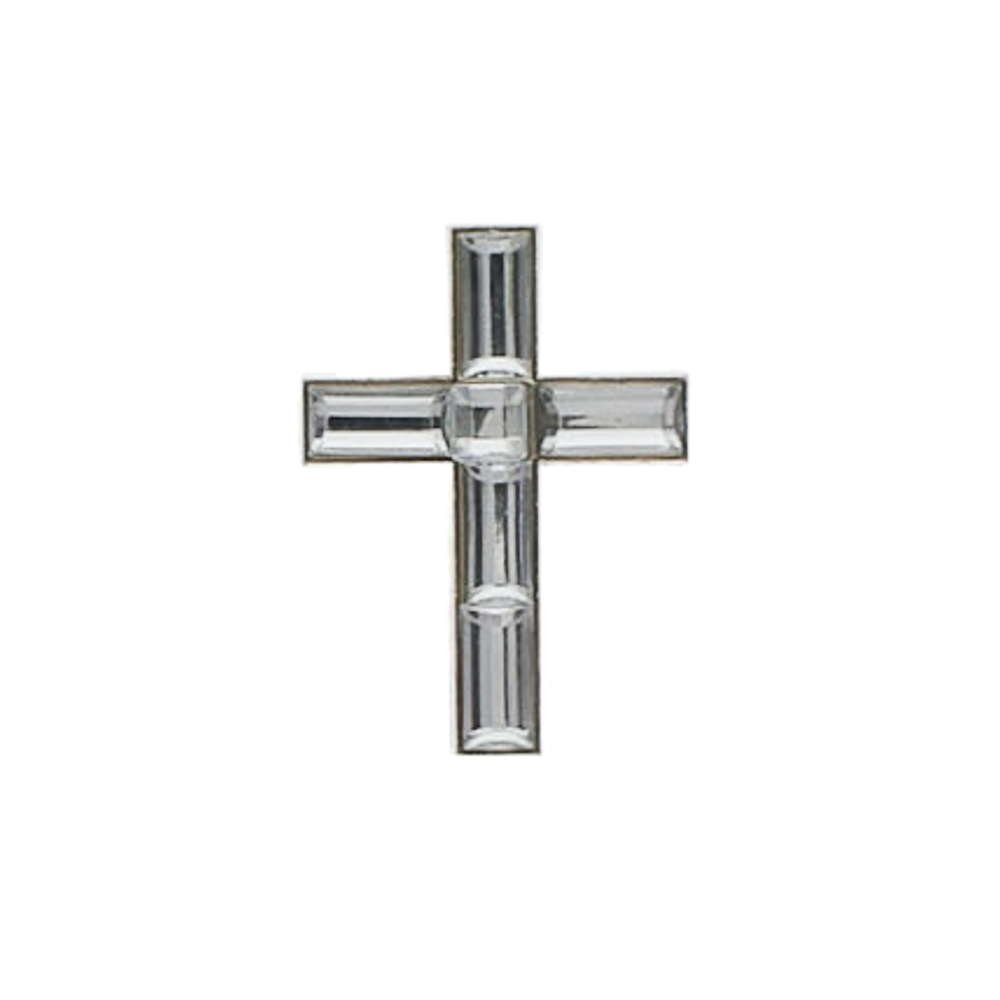 Crosses Lapel Pins Crystal, Silver Pack of 24, Christian 1 1/2 inch Tall