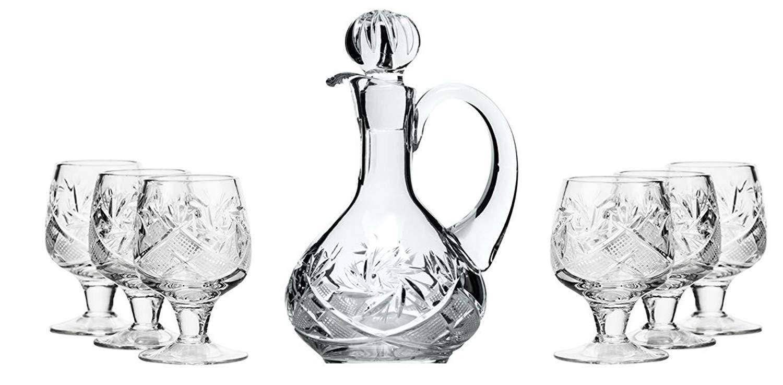 Neman Crystal D5550+LG5290, Set of 6 0.5-Oz Crystal Shot Glasses and 1 5-Oz Glass Decanter
