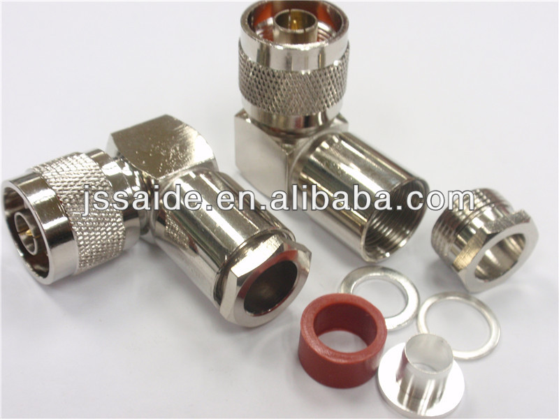 N male right angle clamp connector for RG8x cable