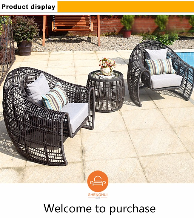 Patio garden furniture waterproof cushion and pillow outdoor round rattan new model sofa