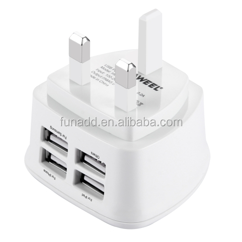 Patented UK Wall 3 Pin Plug Adaptor Charger with 4 USB Ports for Phones Tablets