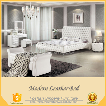 Luxe Tufted Bedroom Set American Leather Sleigh Bed Platform Beds ...