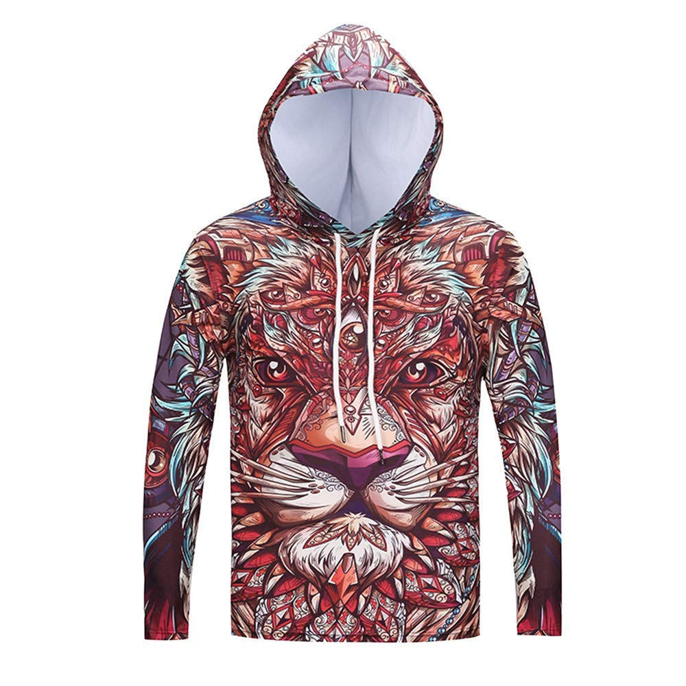 c611bd663f8c Get Quotations · Clearance!BCDshop Mens 3D Lion Print Long Sleeve Novelty  T-Shirts Slim Hooded Pullover