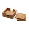 Natural Square Bamboo Coasters For Tea & Coffee Cups, Mugs, Beverages, Glass Drink Mats Bamboo Tray with Holder Hot