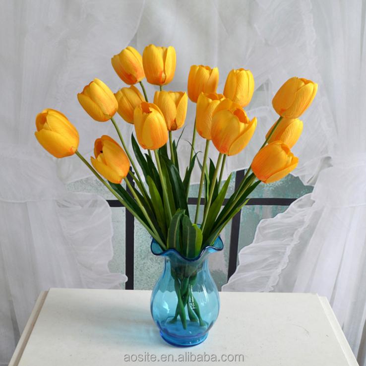 Beautiful Wedding Decoration Flower Artificial Silk Yellow Fake Tulip