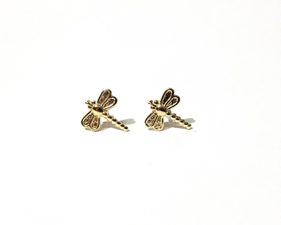 New Design Earrings Fashion Small Cute Alloy Dragonfly Studs Gold ...