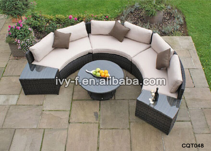 Hotel Garden Wicker Half Moon Shape Sectional Sofa With