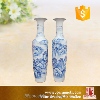 Chinese Landscape Painting 2 Pieces Suit Ceramic Vases For Home