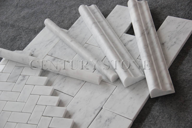 White Marble Tile Stair Bullnose Stone Flooring Baseboard