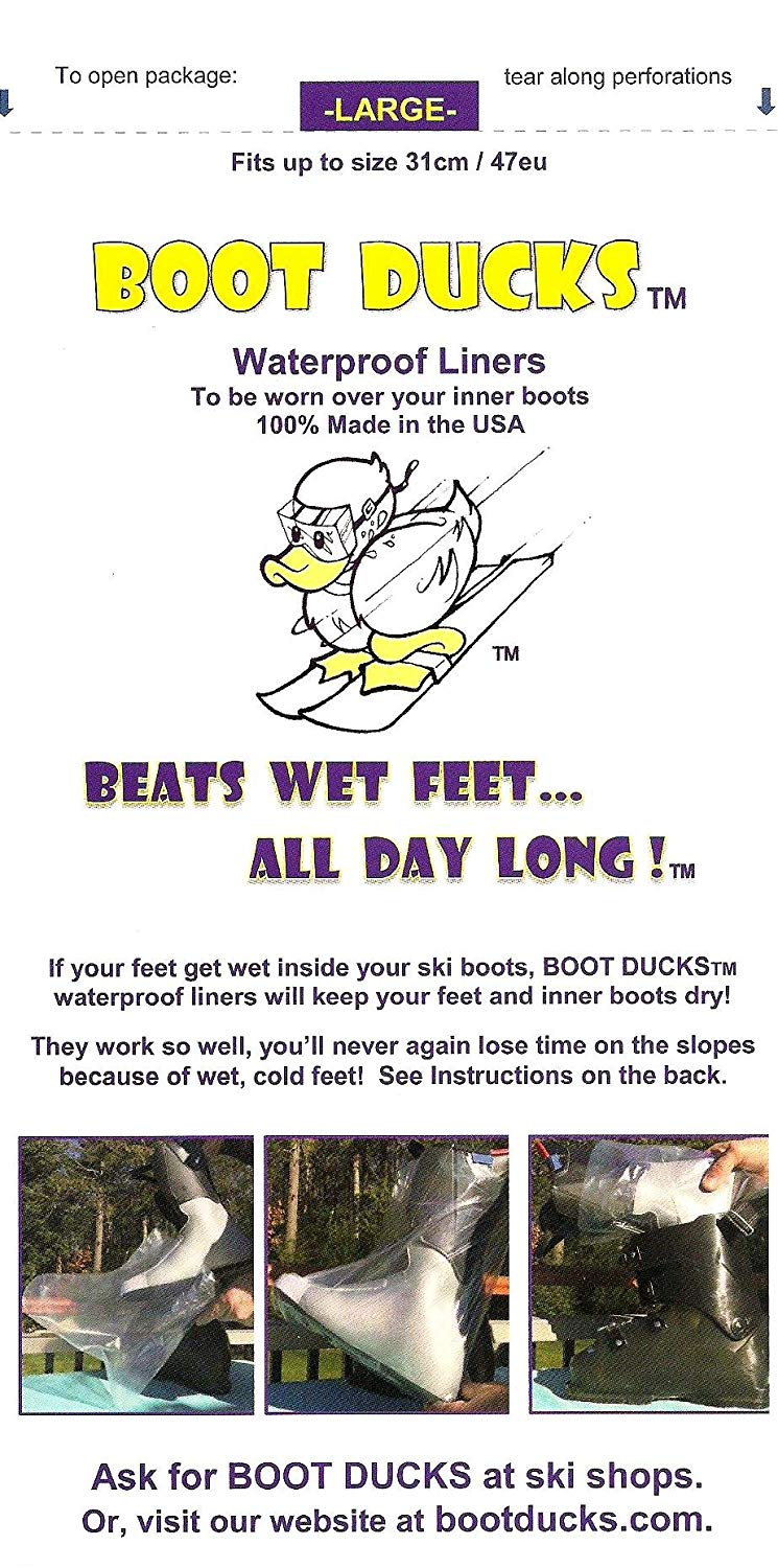BOOT DUCKS, ski boot liners, Large fit boots up to 31 cm/ 47 eu. If you use boot heaters, boot dryers or boot warmers get Boot Ducks. Keep feet dry all day. Also sold in Medium up to 26 cm/ 41 eu boot