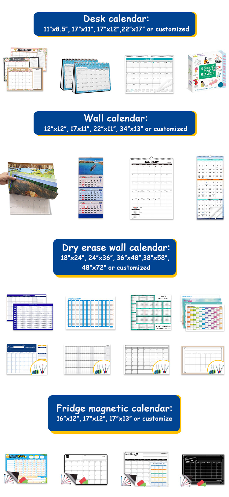 Custom Paper Printing Daily Monthly Planner 2020 Desk Pad Wall Calendar