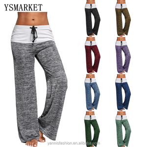Women Yoga Pants Sports Exercise Fitness Running Jogging Trousers Foldover Heather Wide Leg Workout Sport Pants E5382