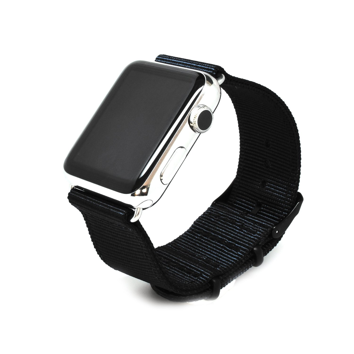 Nato Skull 42mm Apple Watch Band Strap in Black Ballistic Nylon with PVD Metal Clasp (Connector Included)