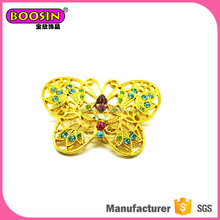 New Arrival yellow butterfly brooch Gold Plated with multicolor rhinestone animal brooches on sale